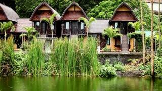Nature resort on Lake Batur in Bali, Indonesia.
