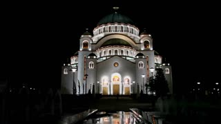 Night photo of the Orthodox Cathedral of Saint Sava in Belgrade, Serbia, largest Orthodox church building in the world