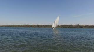 NILE, EGYPT - FEBRUARY 8, 2016: Beautiful felucca boat sailing down the Nile