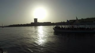 NILE, EGYPT - FEBRUARY 8, 2016: Boat tour on Nile at sunset