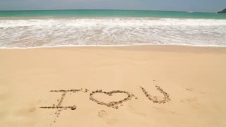 Ocean wave approaching words I love you written in sand on beach