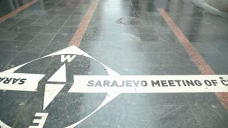Pan view of ���Sarajevo meeting of cultures�۝ written on the street of Sarajevo, Bosnia