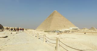 Panorama of Giza pyramids complex in Cairo, Egypt