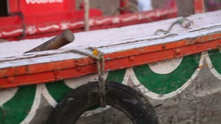Panoramic closeup of boat fence, at river Ganges.