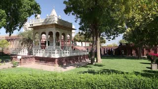 Panoramic view of garden and temple ruins in front of Jaswant Thada temple.