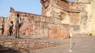 Panoramic view of Mehrangarh fort outdoor fortification walls.