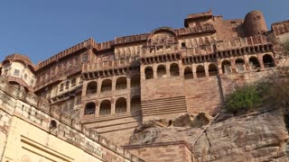 Panoramic view of Mehrangarh fort outdoor walls.