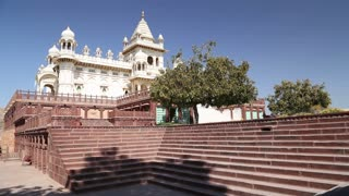 Panoramic view of staircase in front of Jaswant Thada temple.