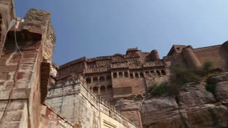 Panoramic view on outdoor walls and landscape in front of Mehrangarh fort.
