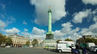 PARIS - OCTOBER 2012: Timelapse of traffic and clouds at Bastille monument on October 12, 2012 in Paris, France. Historically, the Bastille is the central gathering point for political demonstrations.