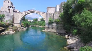 People on the bridge in Mostar waiting for jumping to start