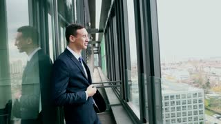 Profile of handsome smiling businessman standing by the window with city view, graded