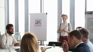 Red hair female advertising executive giving presentation to ...