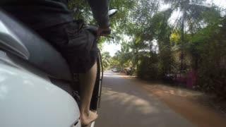 Road view during a motorbike ride in Mumbai, timelapse.