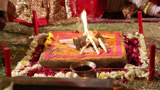 Sacred fire at traditional hindu wedding in Jodhpur.