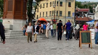 SARAJEVO, BOSNIA - AUGUST 13: Busy streets in the old town on August 13, 2012 in Sarajevo, Bosnia. Ba����ar��ija, the old town market sector was founded by the Ottomans in the 15th century.