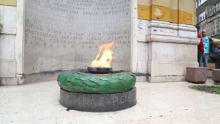 SARAJEVO, BOSNIA - JUNE 2014: The Eternal flame in Sarajevo, a memorial to the military and civilian victims of the World War Two.