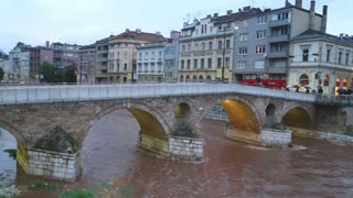 SARAJEVO, BOSNIA - MARCH 2014: Beautiful view from Latin bridge in capital bosnian city.