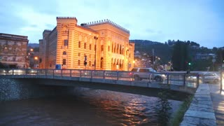 SARAJEVO, BOSNIA - MARCH 2014: National and University Library of Bosnia and Herzegovina illumatined at night