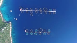 Shot from above of a sea fish farm in Croatia