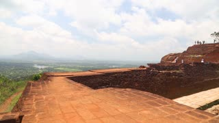 SIGIRIYA, SRI LANKA - FEBRUARY 2014: Pan shot of the top of the Rock Fortress in Sigiriya, an ancient palace located in the central Matale District in the Central Province.