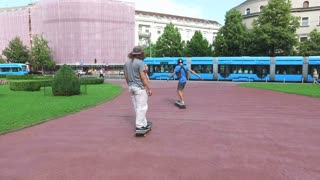 Skateboarders having fun in the city