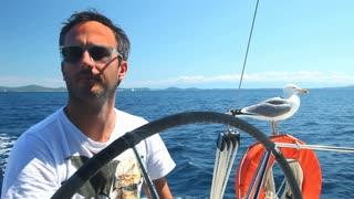 Skipper on sailing boat with seagull on Adriatic sea off the coasts of Croatia.