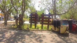 SOUTHERN COAST, SRI LANKA - FEBRUARY 2014: Tuk tuk vehicles parked next to road in Sri Lanka.