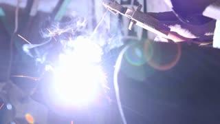 Sparks burning during welding in workshop in Jodhpur.