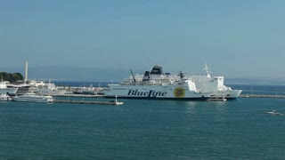SPLIT - JULY 24: Timelapse of cruiser and passenger ferry boats in harbour on July 24, 2013 in Split, Croatia. Split is Croatia's main tourist harbour connecting all Adriatic islands.