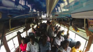 SRI LANKA - MARCH 2014: View of people inside a crowded bus. Buses are the main means of public transportation in the country.
