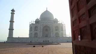 Taj Mahal front view, with wooden doors aside.