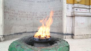 The Eternal flame in Sarajevo, a memorial to the military and civilian victims of the World War Two.