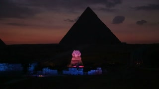 The Great Sphinx and pyramids Night Light Show, Giza, Egypt
