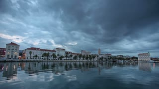 Timelapse of dark clouds passing over the seafront of Split in Croatia