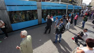 Timelapse of people at tram stop on Bana Jelacic square in Zagreb, Croatia