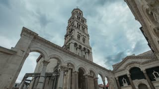 Timelapse of peristyle in the Diocletian palace in Split, Croatia