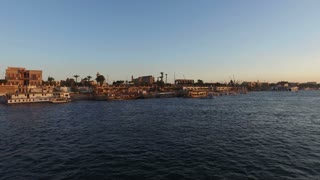 Tour boats on Nile river at Luxor, Egypt