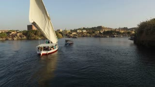 Tour boats on the Nile river near Aswan, Egypt