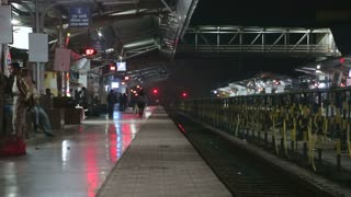 Train station in the night time in Mumbai.