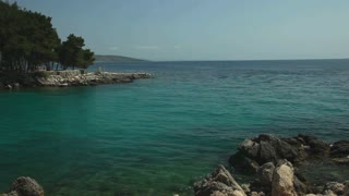 Turquoise transparent water reflection in mediterranean sea