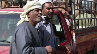 Two men talking at Camel market in city of Daraw