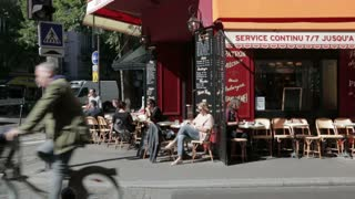 Quiet street cafe corner in the centre of Paris