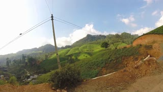 View from moving vehicle of tea plantations in the foothills on the roads of Sri Lanka.