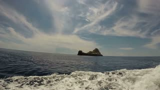 View of Adriatic sea from a speed boat, Bisevo island, Croatia