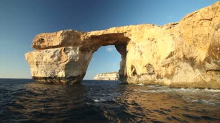 View of Azure Window, known as Tieqa ��erqa, a natural rock formation on the coast of Gozo island, Malta