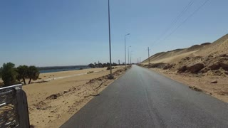 View of desert road in Aswan, Egypt.