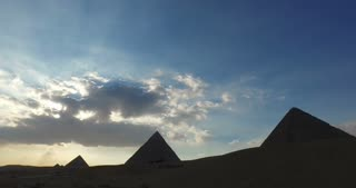 View of Giza pyramids in the evening, Egypt
