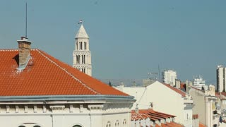 View of roof and Saint Domnius bell tower in Split