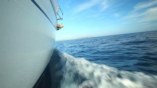 View of side of sailing boat on Adriatic sea in Croatia
